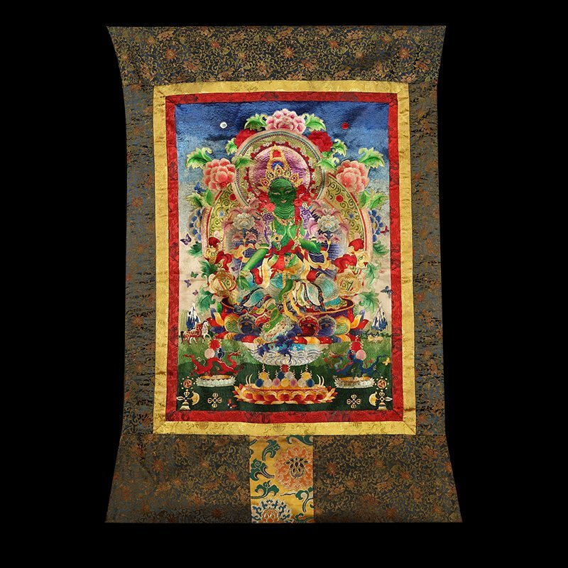 Buddhist Thangka. Tibet. Early 20th century. Embroidery
