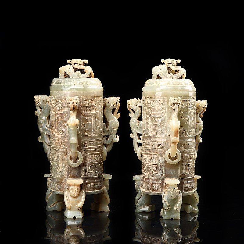 Pair of jade dragons incense burner