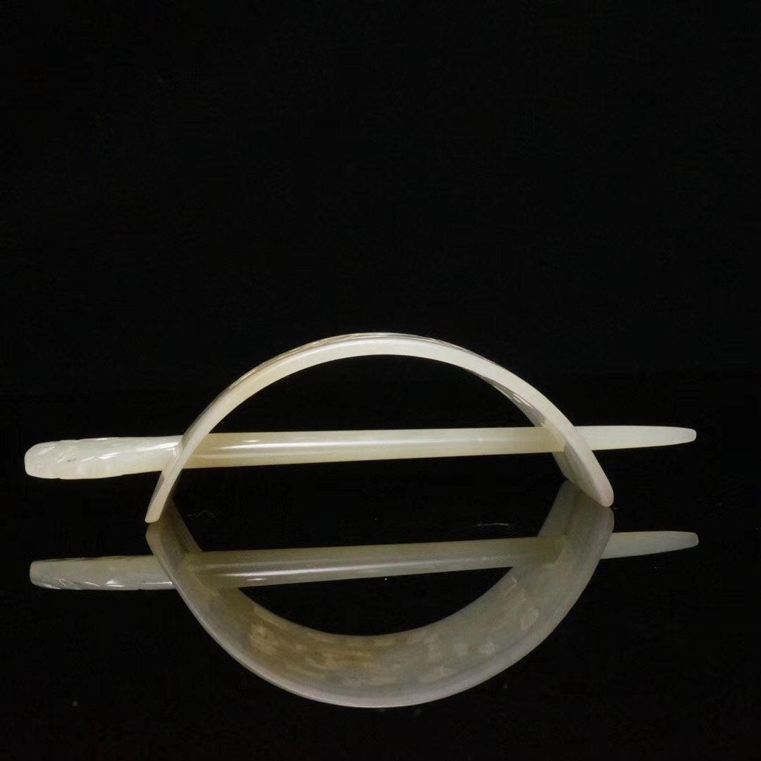 Chinese Carved Jade Hair Pin - 5