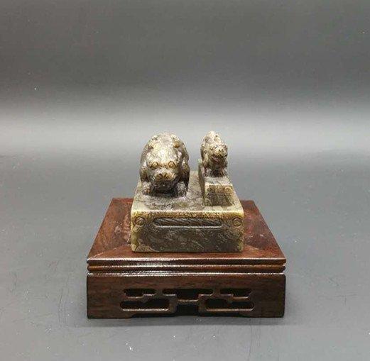 Ancient Chinese  Hetian Jade Seal Pixiu