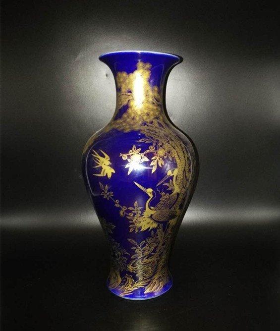 Chinese Blue Glaze  Porcelain Vase - 4