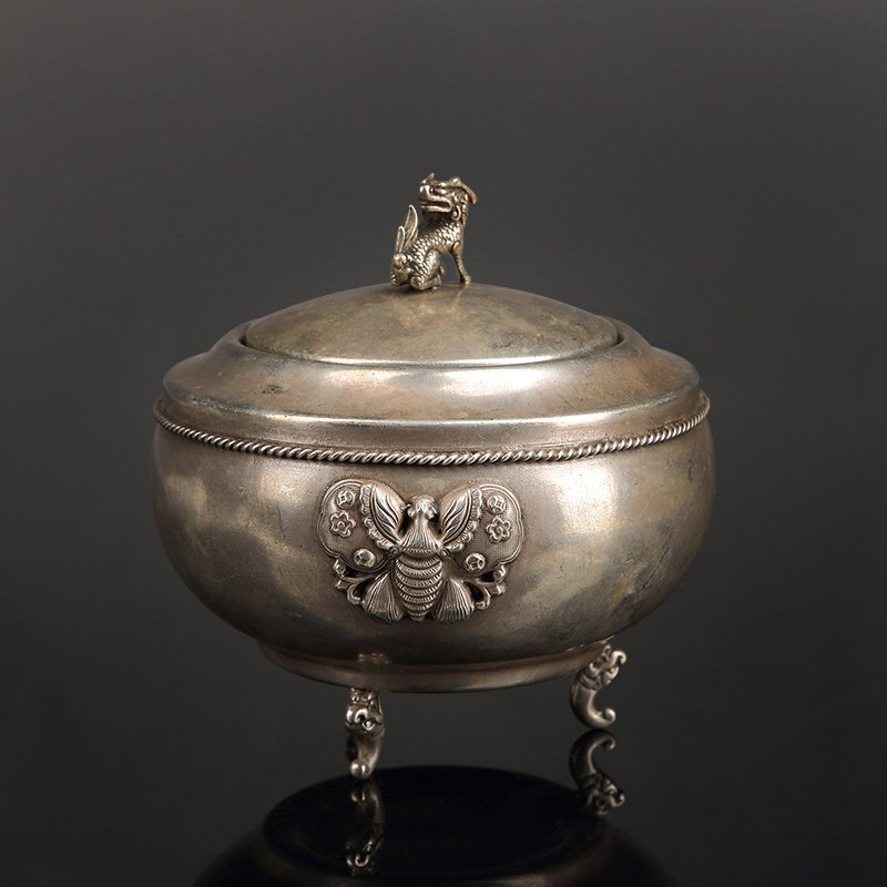 Chinese Three feet Pure silver incense burner