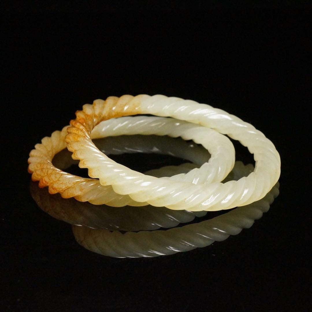 Pair of Chinese Qing Dynasty Hetian Jade Bracelets