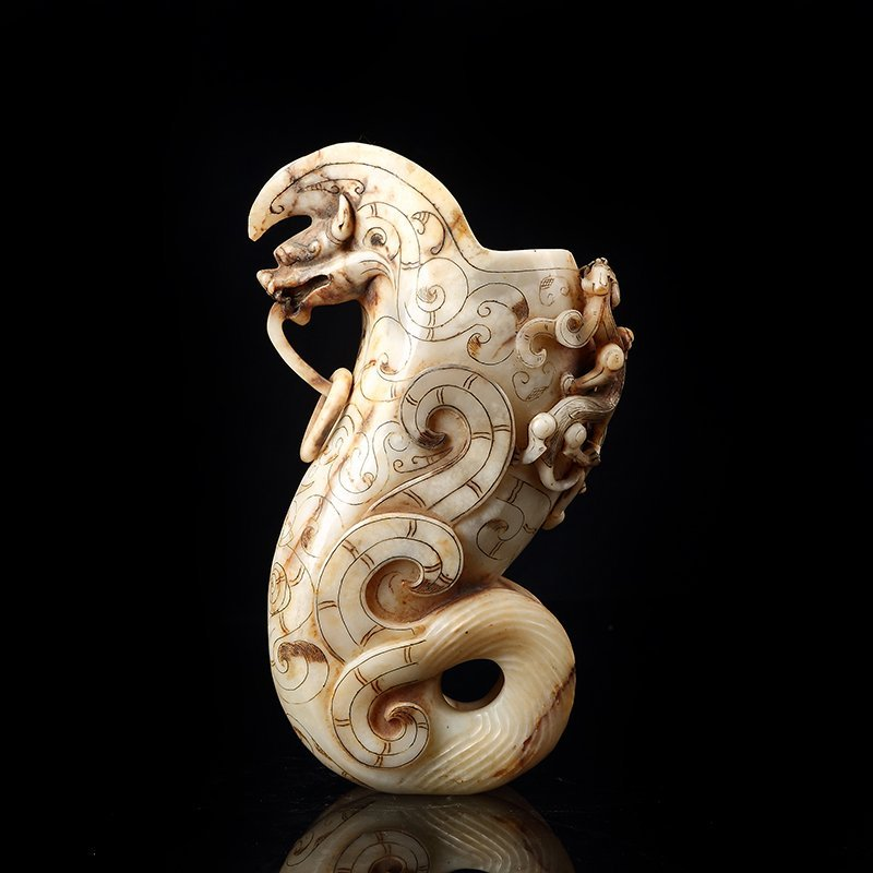 Chinese carved with Hetian jade Goblet