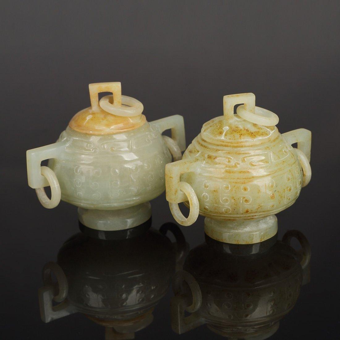 Pair Chinese ancient Jade Incense burner