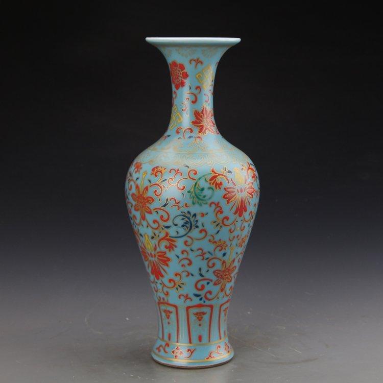 Chinese Sky Blue Glaze Colored Enamel Vase