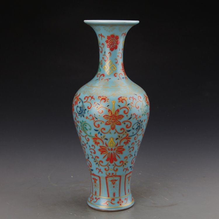 Chinese Sky Blue Glaze Colored Enamel Vase - 2