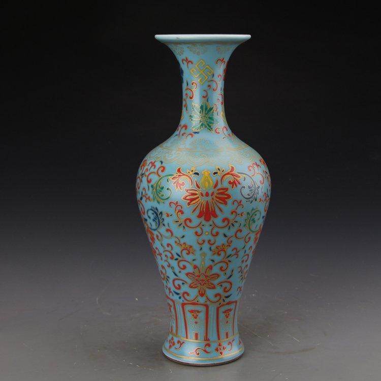Chinese Sky Blue Glaze Colored Enamel Vase - 3