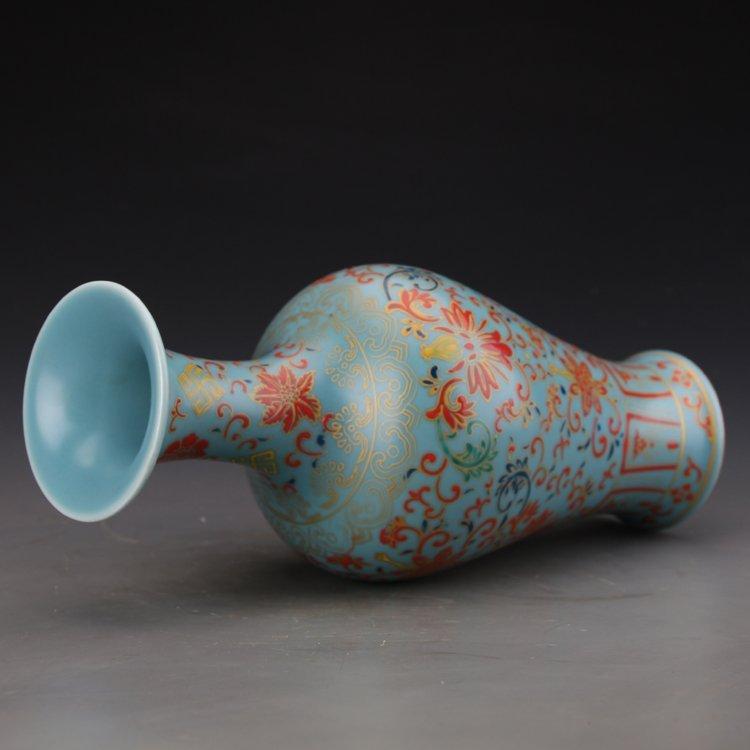 Chinese Sky Blue Glaze Colored Enamel Vase - 4