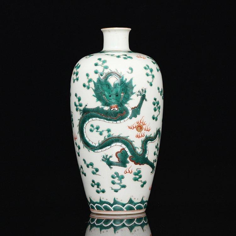 Chinese White Glaze Green Dragon Porcelain  Vase