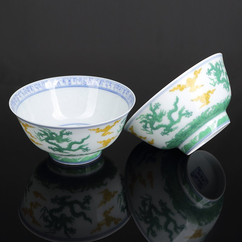 Pair of Chinese Doucai Porcelain Bowls
