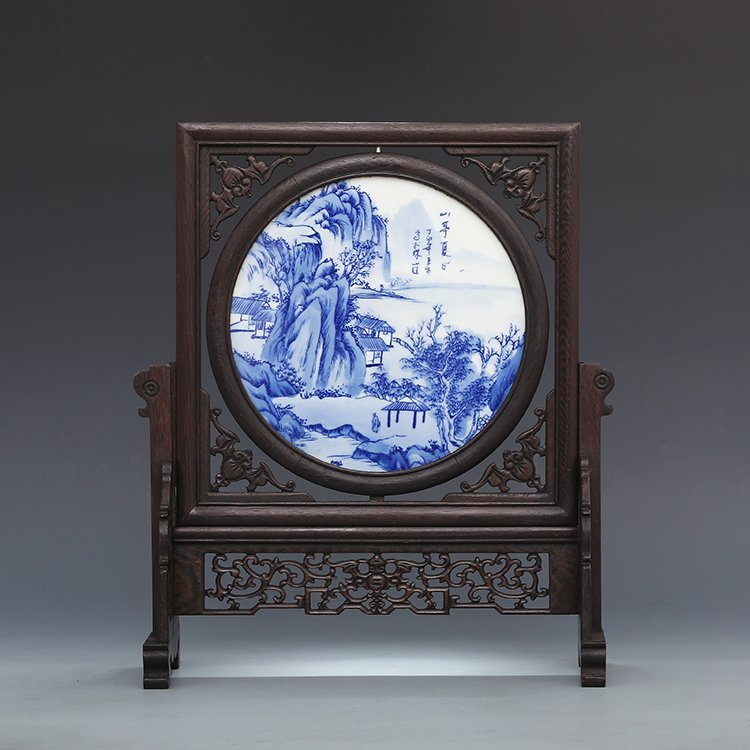 Chinese Rectangular Porcelain Screen