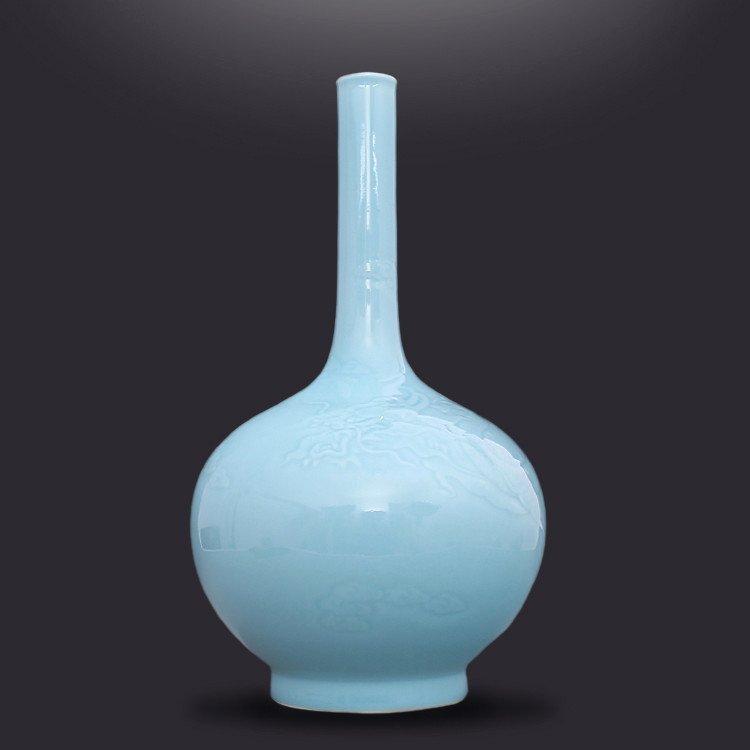 Chinese Powder blue glaze Porcelain  Vase