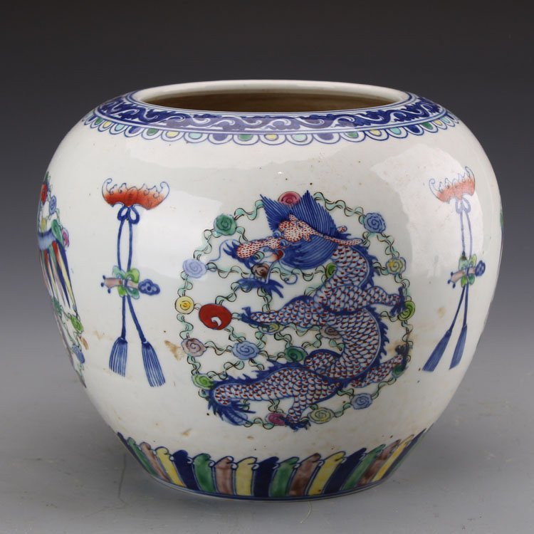 Chinese Qing kangxi Dragon and Phoenix Jar