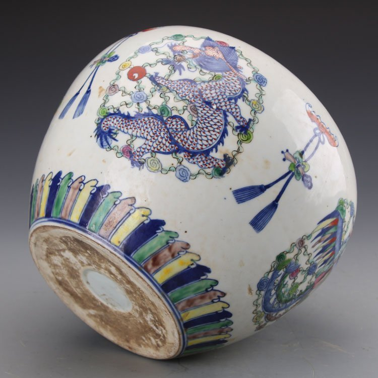 Chinese Qing kangxi Dragon and Phoenix Jar - 4