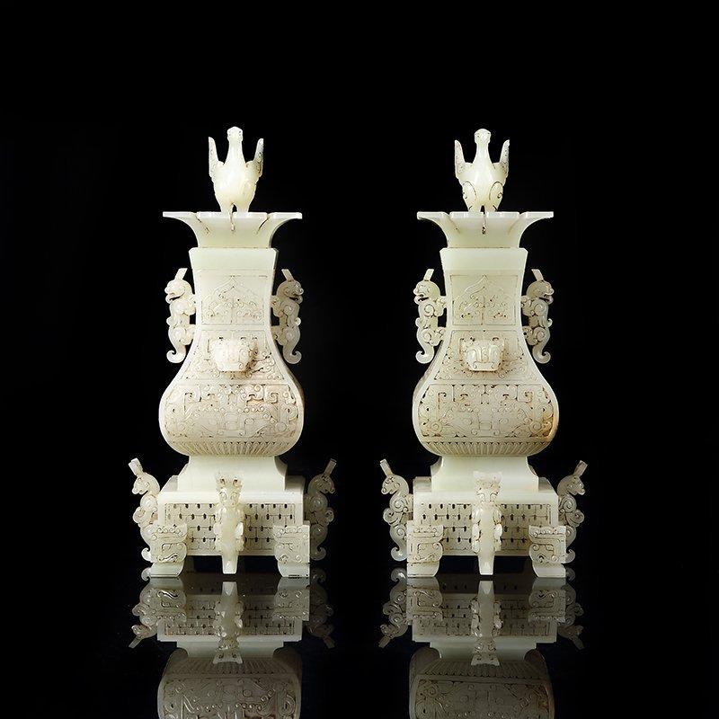 Chinese Hetian Jade Statue - Sages & Pine Tree