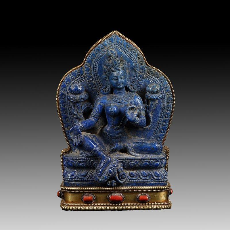 Chinese Antique Lapis lazuli guanyin