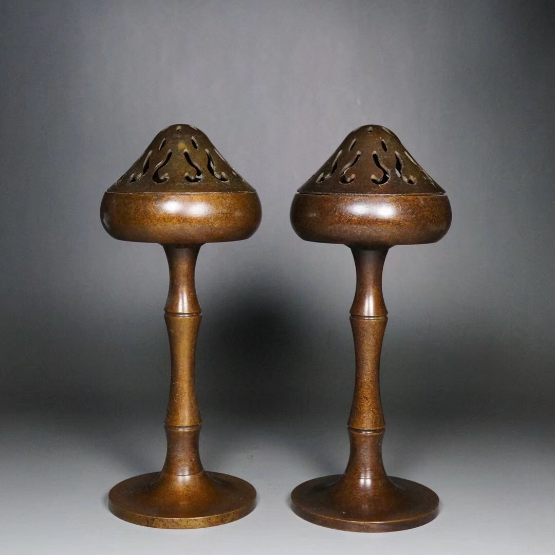 Pair of Chinese Qing  Dynasty Bronze Incense Burner
