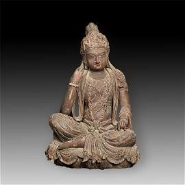 Chinese Tang Dynasty Wood Sitting Guanyin Statue