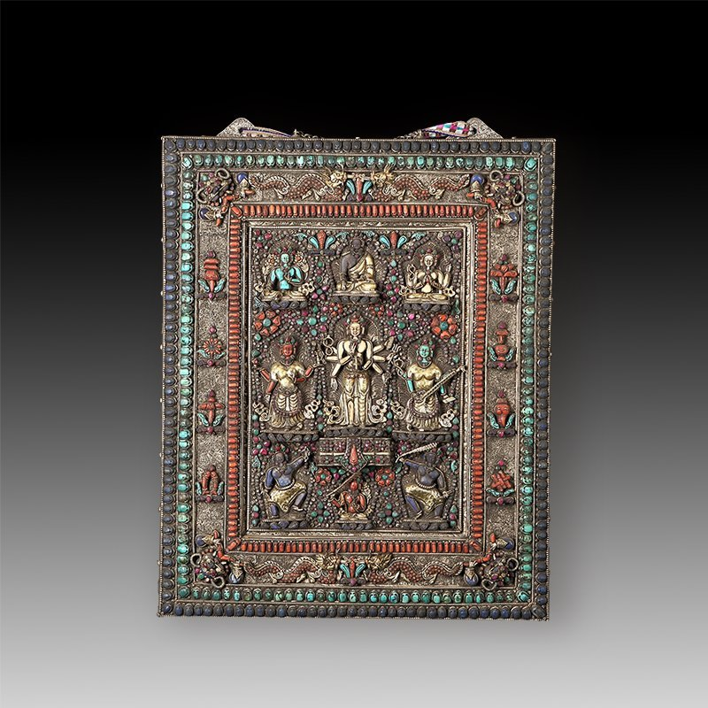Chinese Qing dynasty old Buddha silver of Mandala