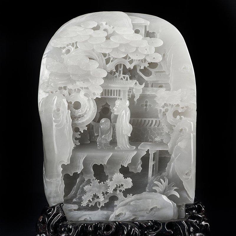Chinese Hetian Jade Statue - Sages & Pine Tree - 5