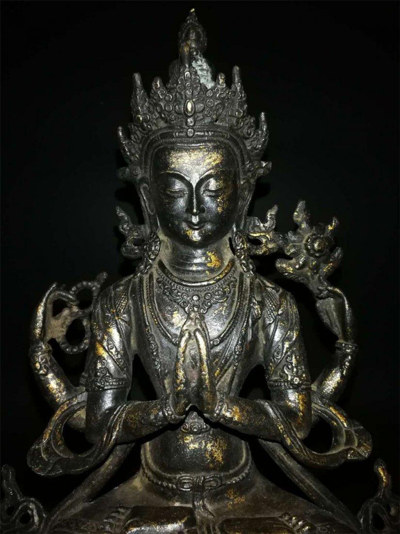 Chinese Tibetan Gilt Buddha - 2
