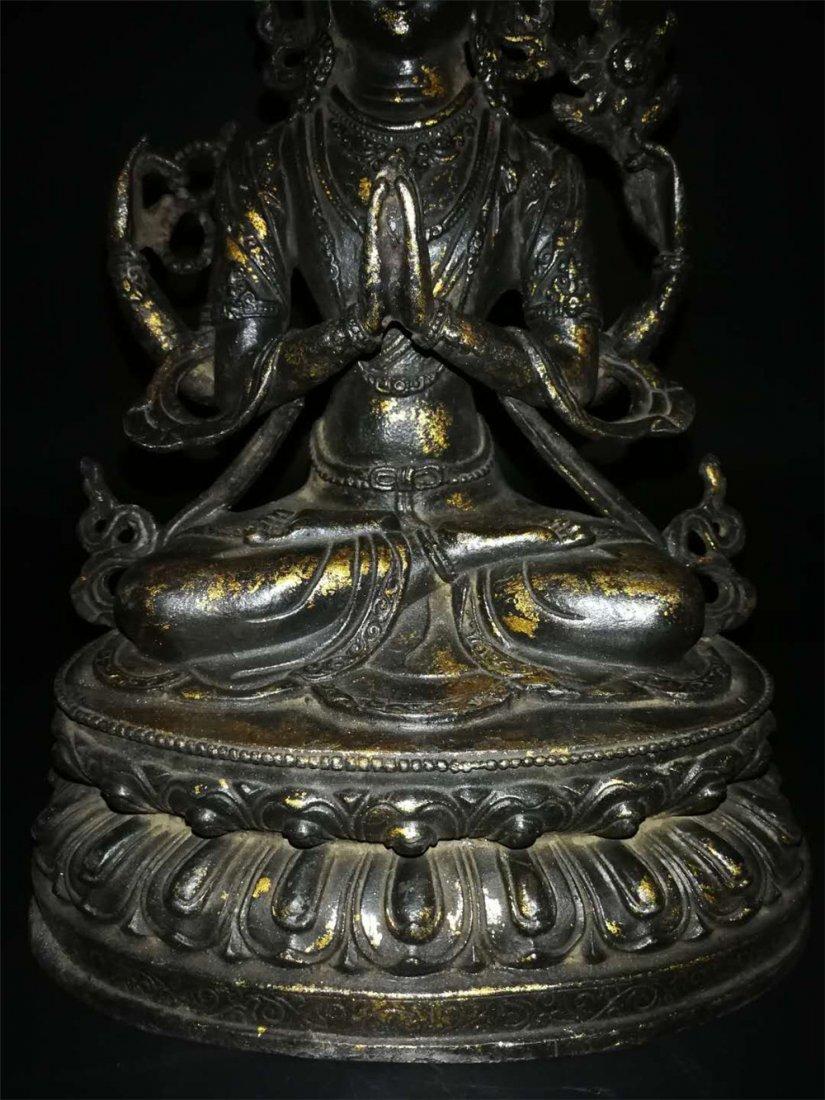 Chinese Tibetan Gilt Buddha - 3