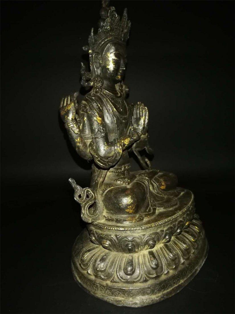 Chinese Tibetan Gilt Buddha - 5
