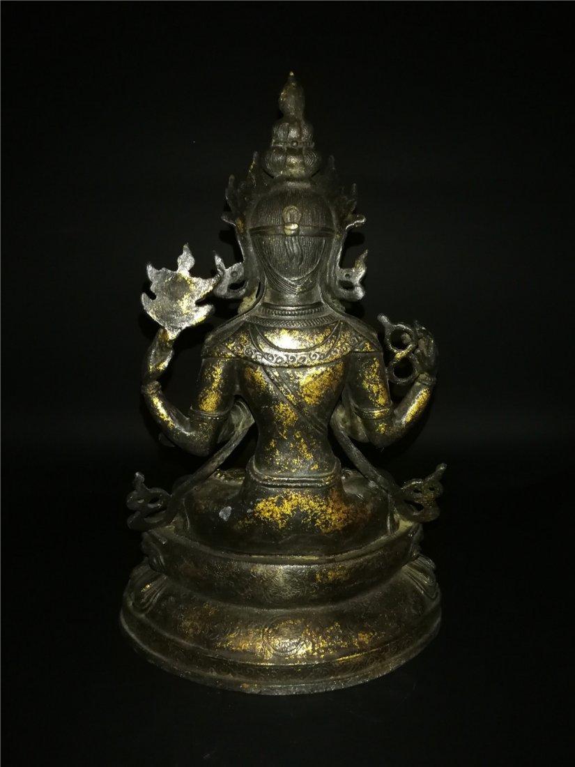 Chinese Tibetan Gilt Buddha - 7