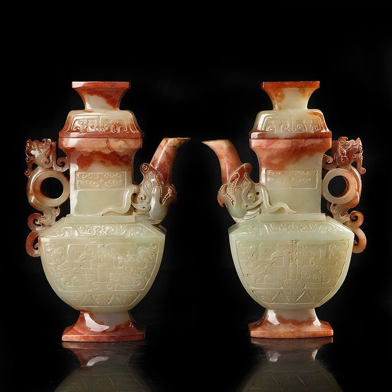 Pair of Chinese Longfeng hetian jade  Pots