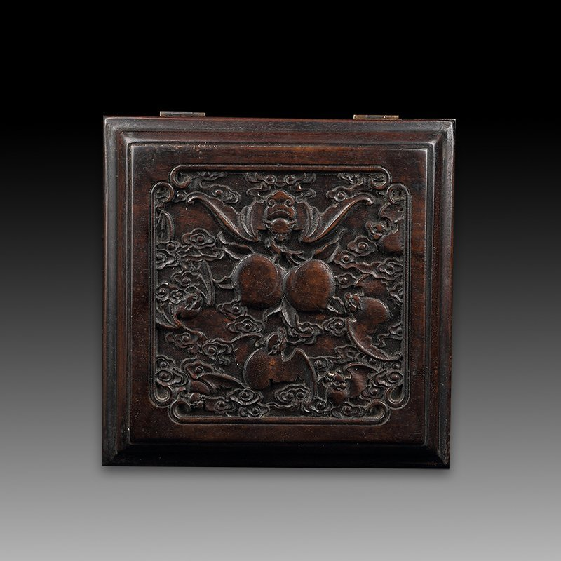 Vintage Chinese Zitan Wood Jewelry Box