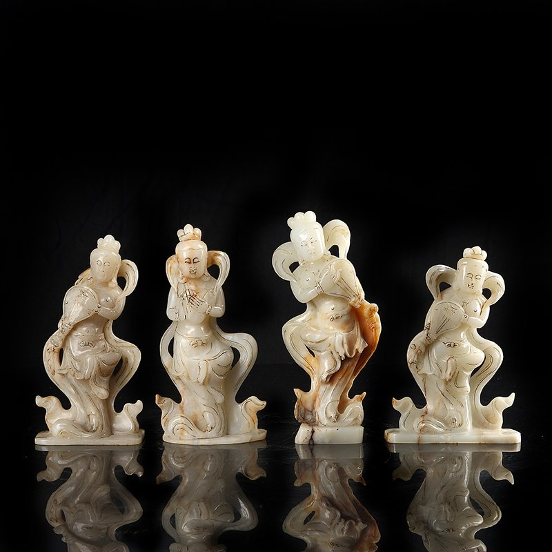Four Carved Jade Figure of  an beauty