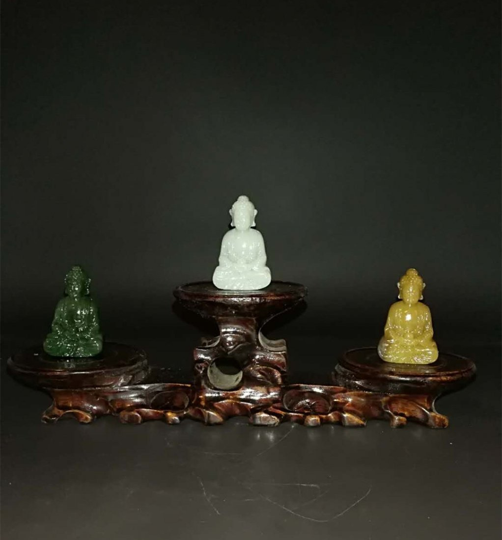 Chinese Qing Dynasty Hetian Three Jade Buddhas