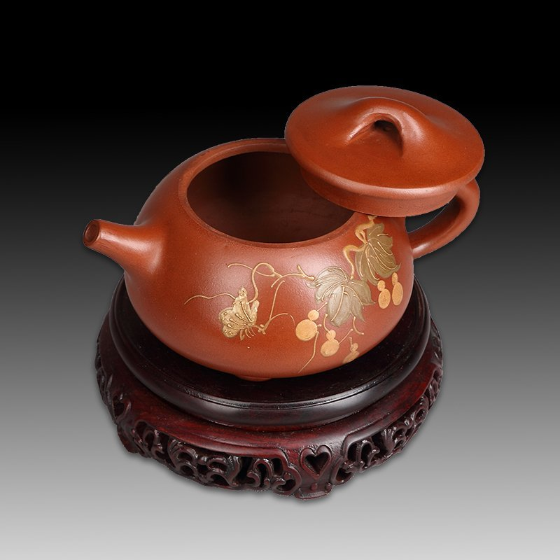 Chinese zisha teapot and cover.(Mark of Gu jingzhou) - 4