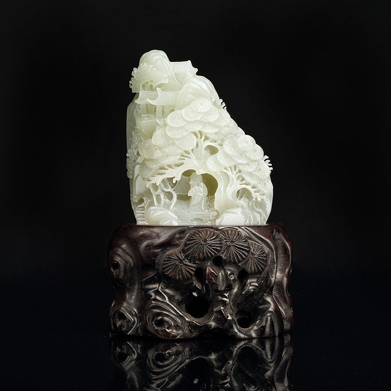 Chinese Hetian White Jade Carved Children Boulder