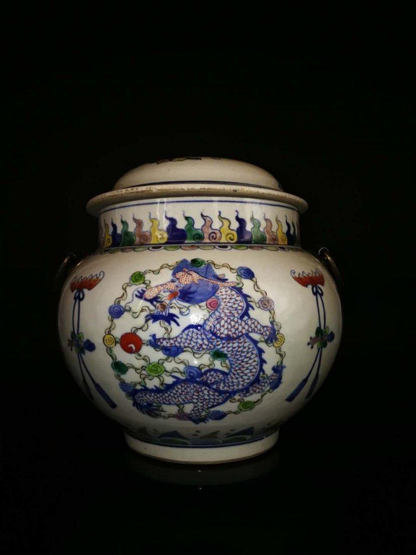 Chinese Doucai Porcelain Ginger Jar - 2