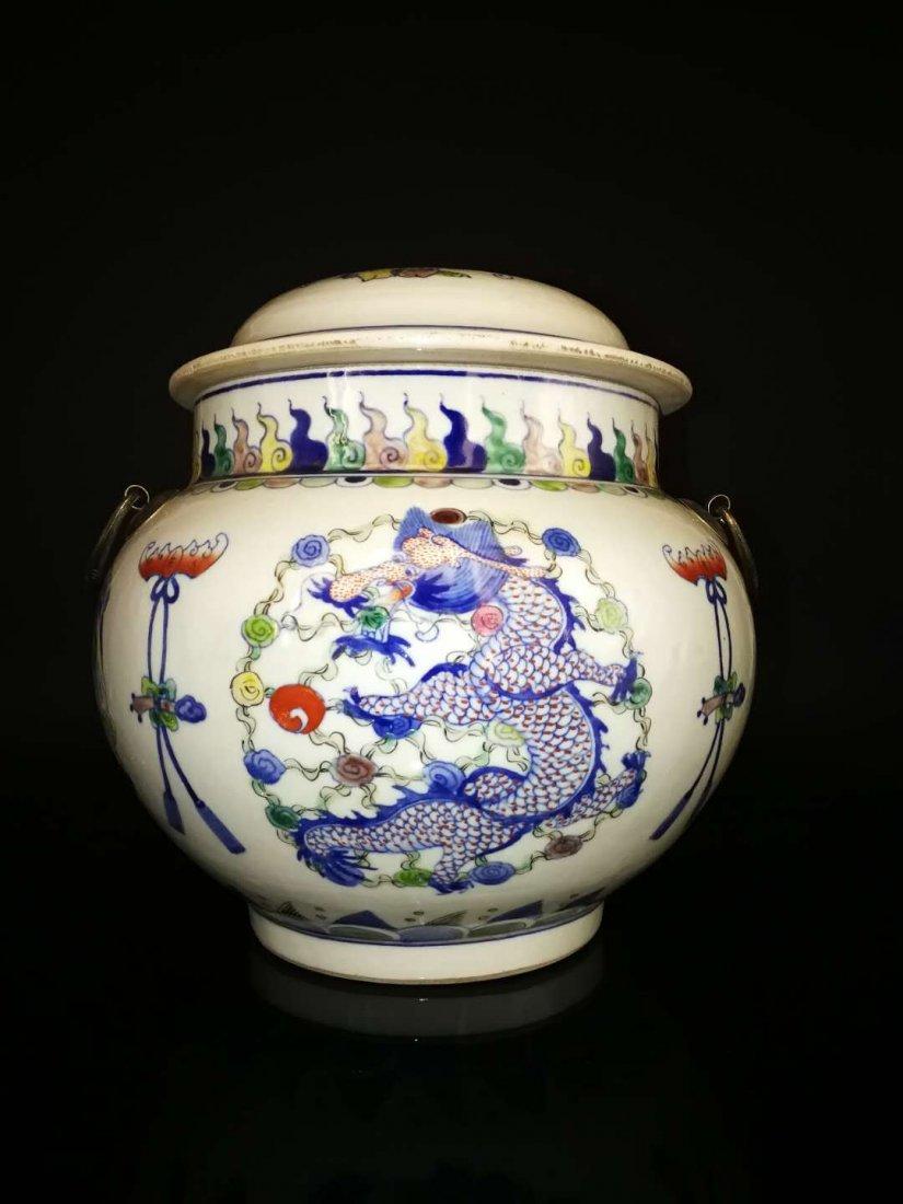 Chinese Doucai Porcelain Ginger Jar - 3