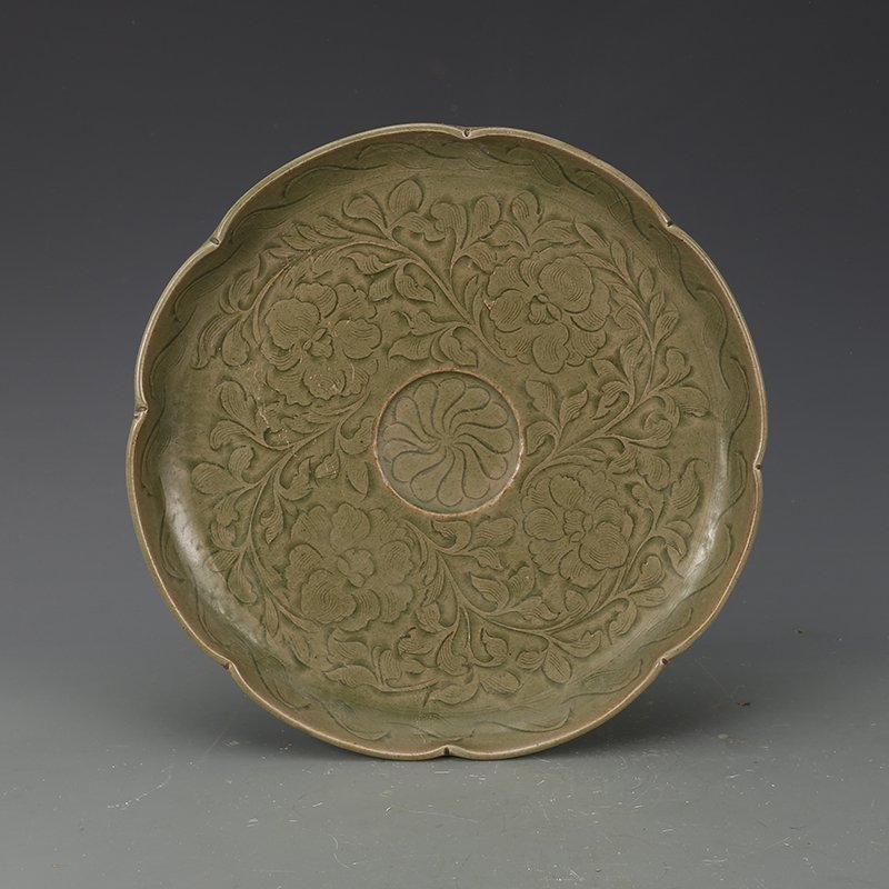 Chinese Yaozhou kiln Sculpture Porcelain Plate