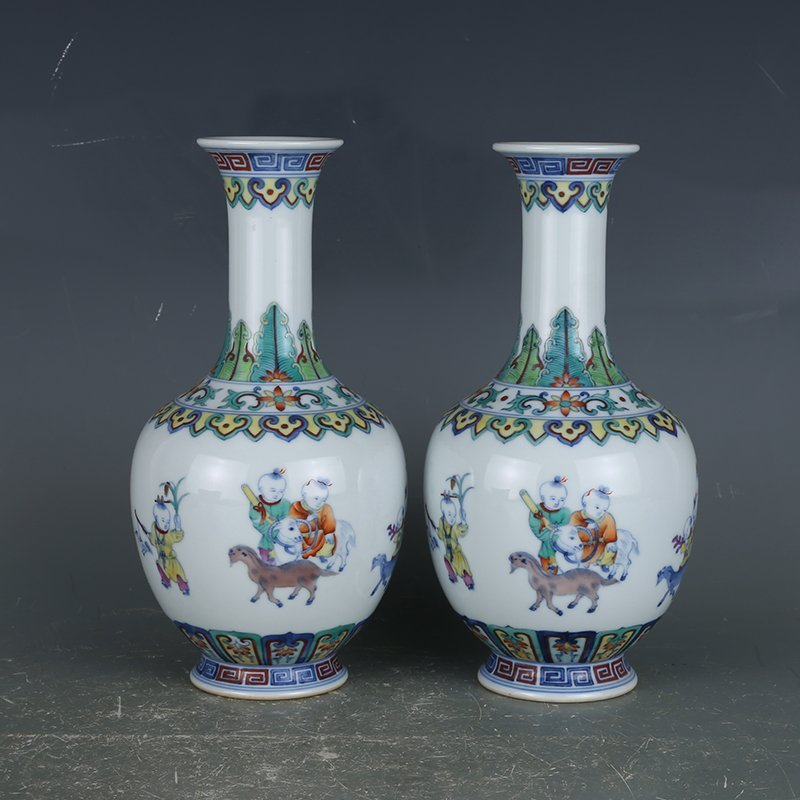 Pair of Chinese Doucai Porcelain Vases
