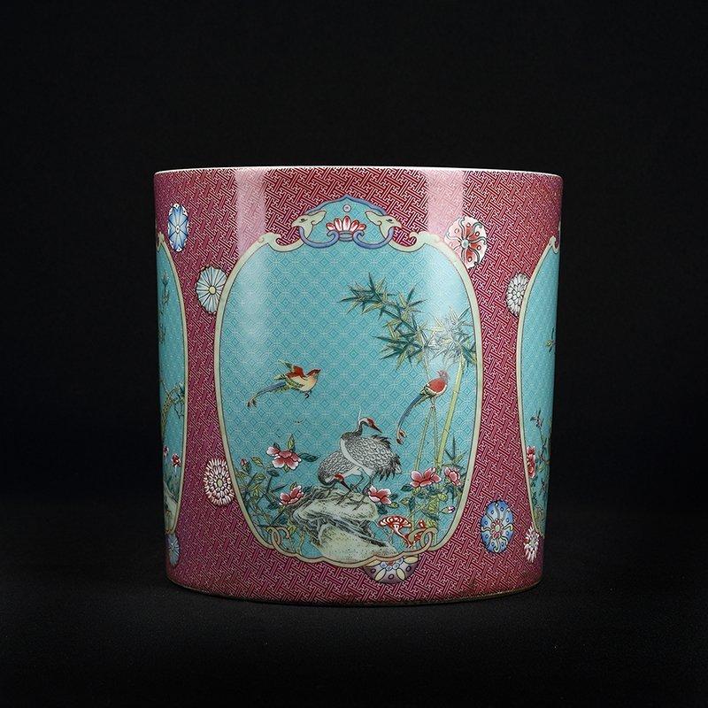 Chinese Famille Rose Porcelain Brush Pot - 3