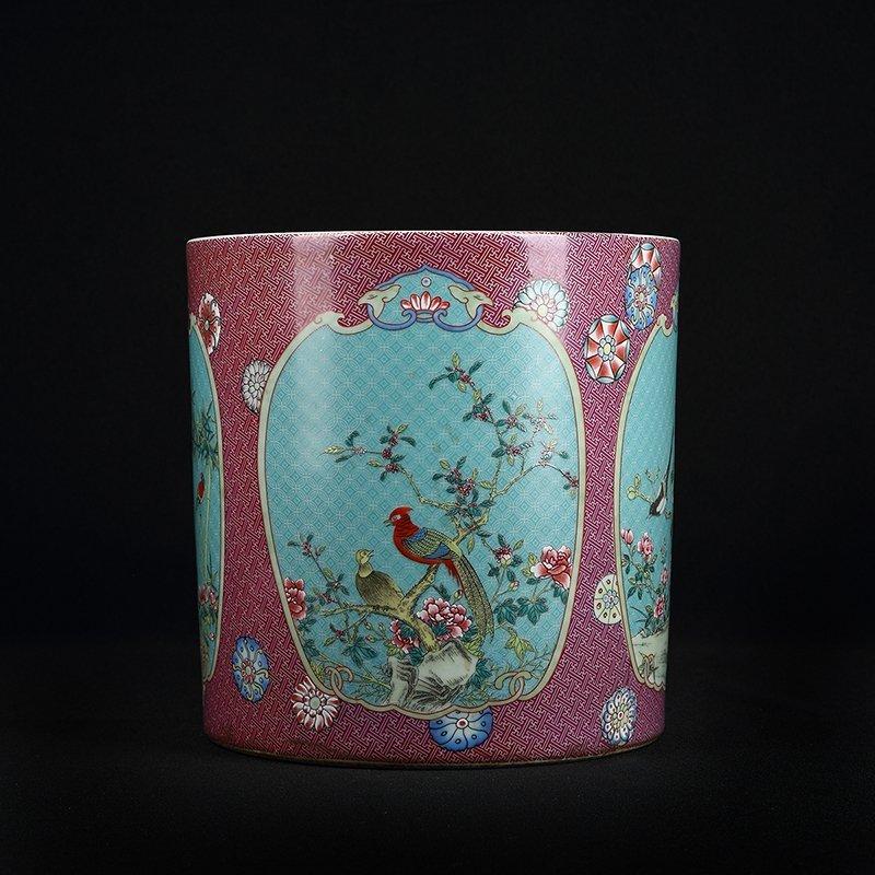 Chinese Famille Rose Porcelain Brush Pot - 4