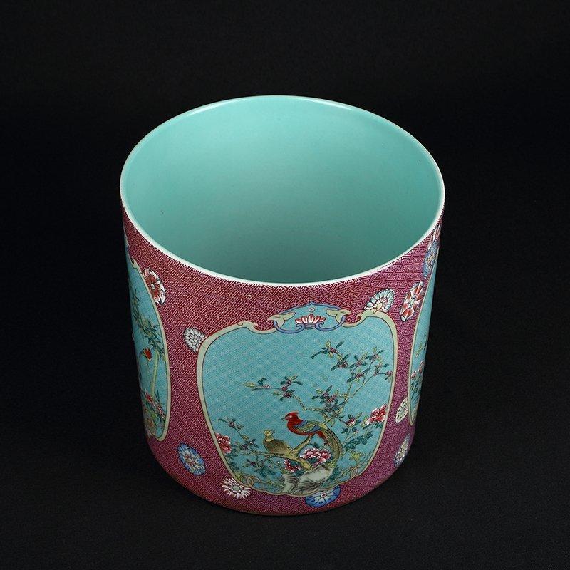 Chinese Famille Rose Porcelain Brush Pot - 5