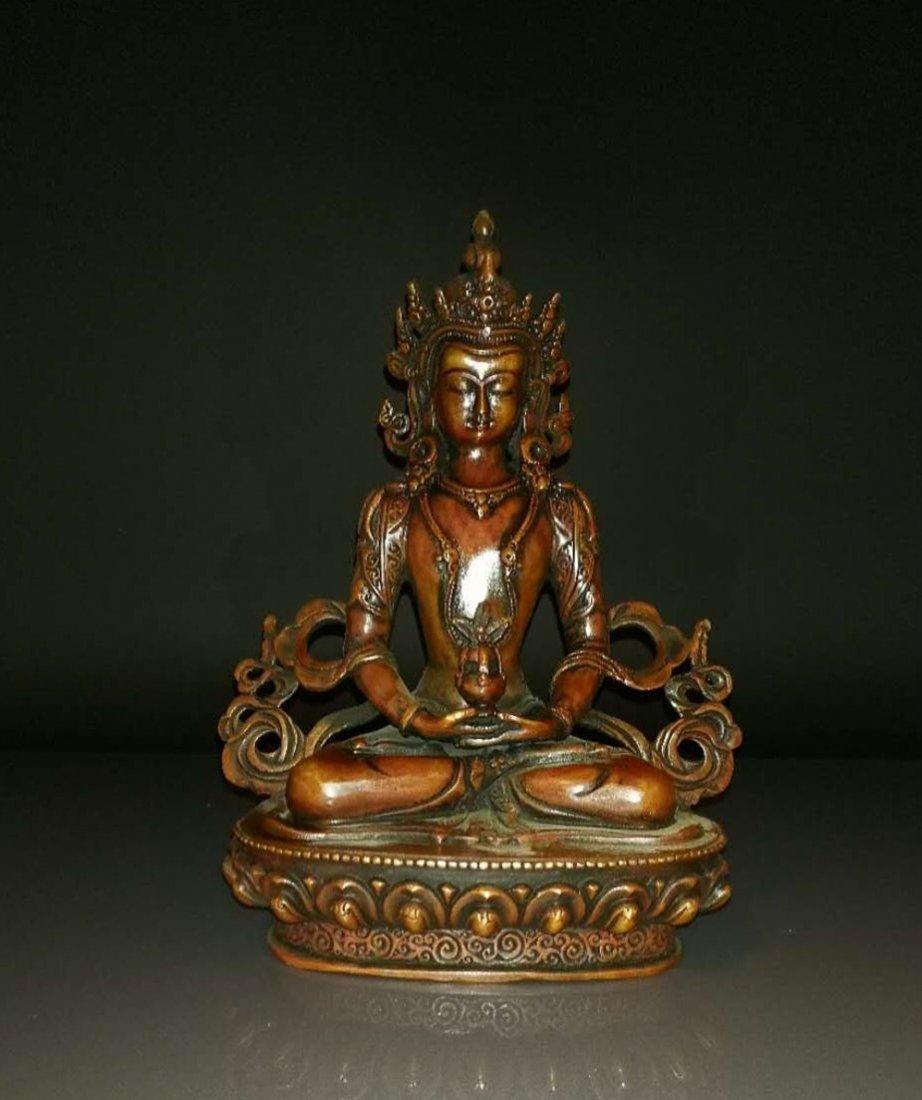 Chinese Gilt Bronze Buddha Green Tara