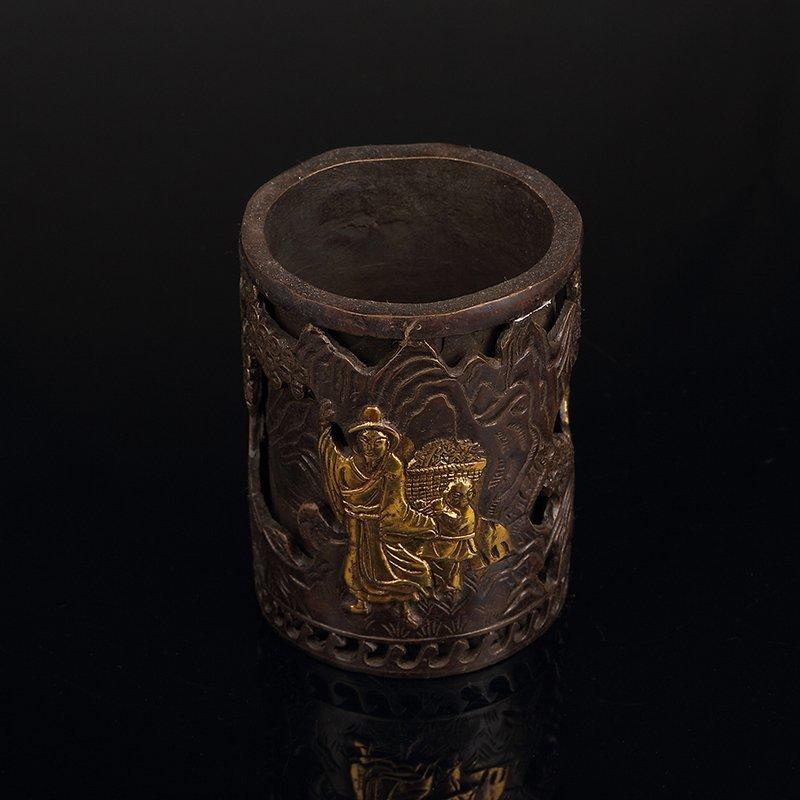 Chinese Bronze Brush Pot - 3