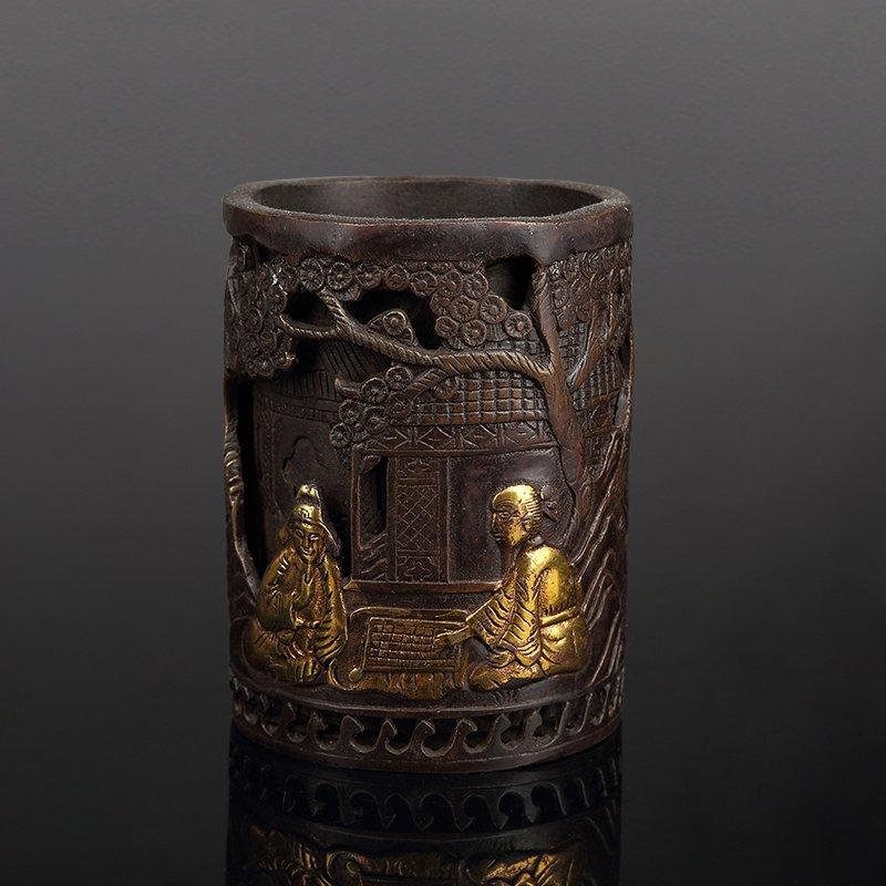 Chinese Bronze Brush Pot - 5