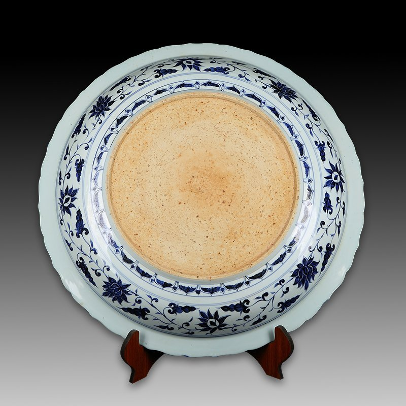 Large Chinese Blue And White Dragon Porcelain Plate - 5