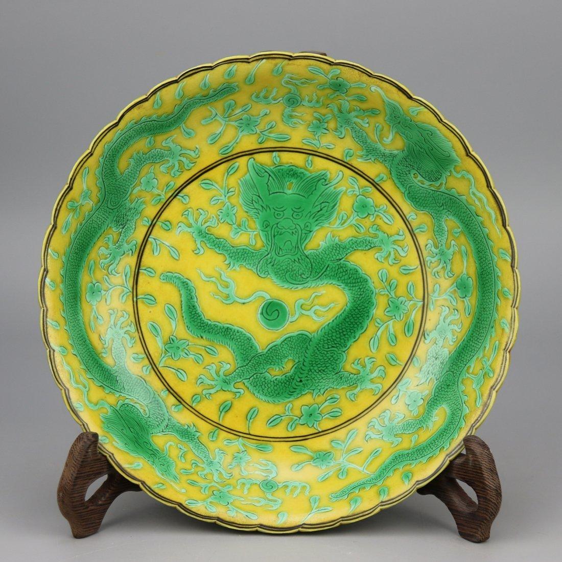 Chinese Yellow glaze green dragon Porcelain Plate