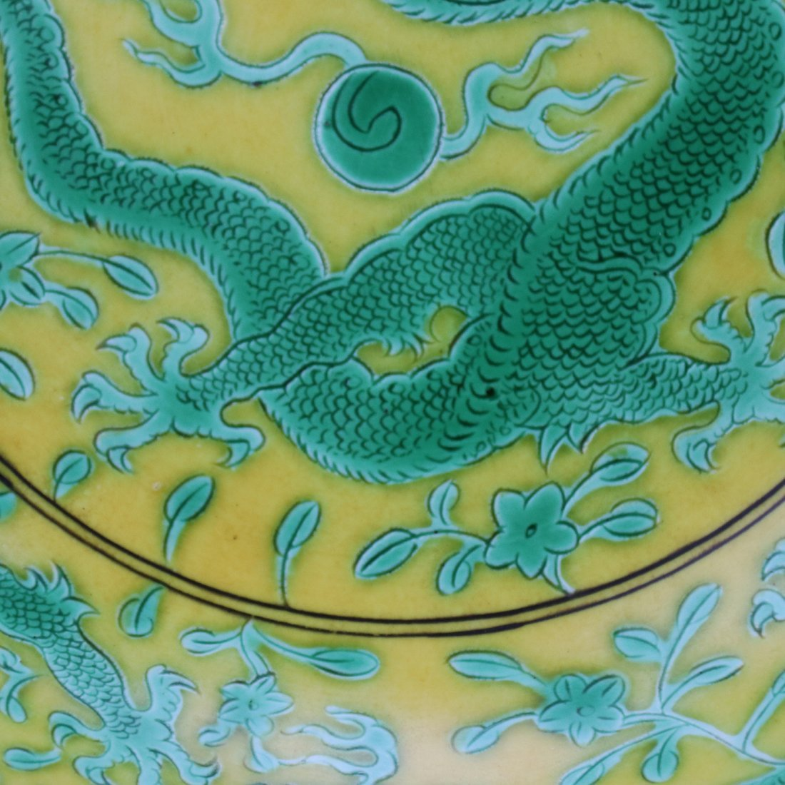 Chinese Yellow glaze green dragon Porcelain Plate - 2