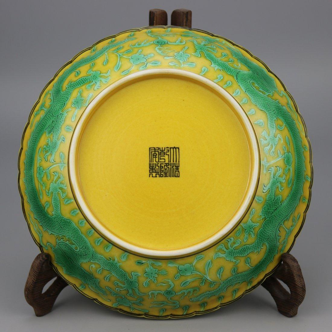 Chinese Yellow glaze green dragon Porcelain Plate - 3