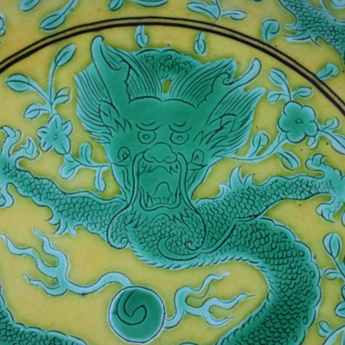 Chinese Yellow glaze green dragon Porcelain Plate - 5